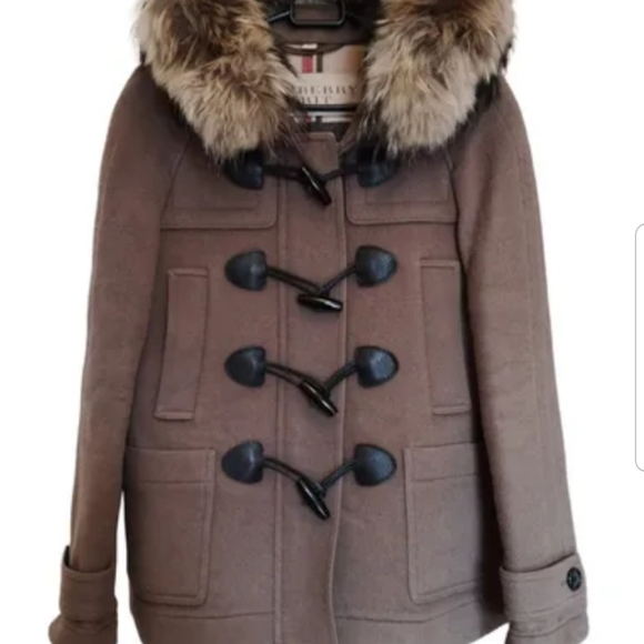 Burberry Brit Blackwell Duffle Coat Fur Collar SZ8
